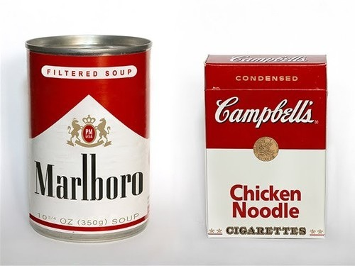 johngushue:  visualgraphic:  Marlboro Soup  What's in a logo? Mixing smokes and soup.