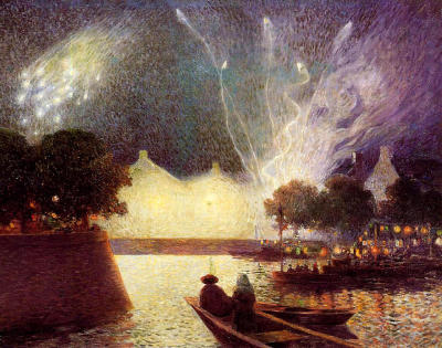 missfolly:  Fireworks over the Port, undated Ferdinand du Puigaudeau