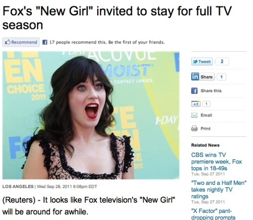 "When headline and photo collide: Zooey Deschanel's ""New Girl"" gets picked up for a full season, and Zooey looks like she just won Miss Indie America."
