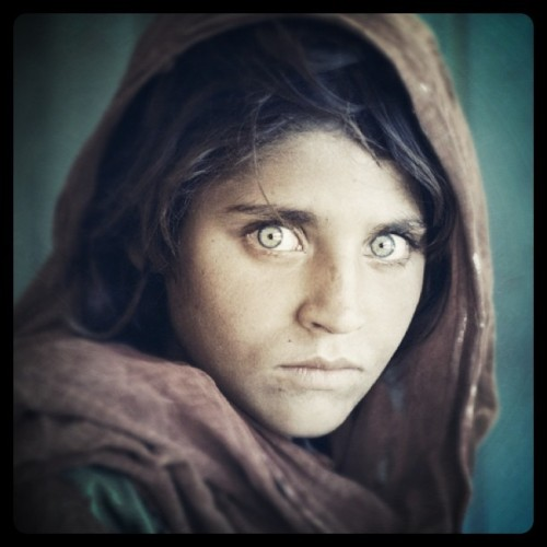 mastergram:  Steve McCurry - Afghan Girl, 1984. Modified using instagram. View original version here.