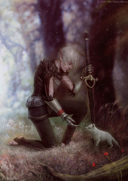 thewolf-inme:  impressioniste:  This is one of my favorite fanarts of Fenris, but the original poster seems to be gone, and I don't know if they were the artist or not. I tried searching for the artist based on the signature (e. soulu?) but came up empty-handed. If anyone knows the source credit for this, please share?  http://lamp-ag.deviantart.com/gallery/#/d41kmb2 :)