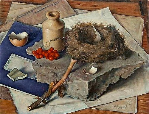 Johan Ponsioen Still Life with Bird's Nest and Red Currants 1956