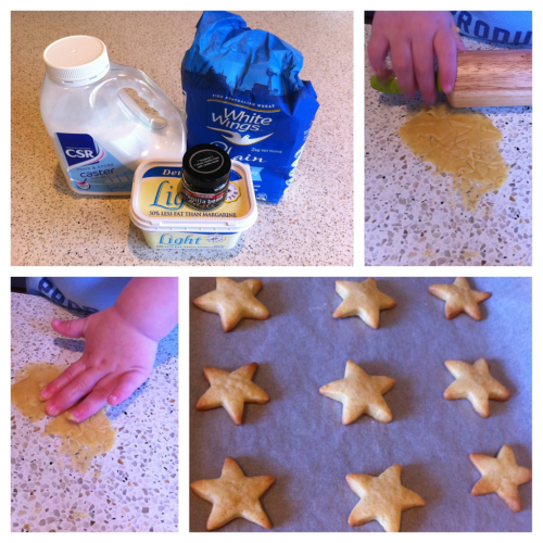 Simple Shortbread Stars Ingredients: 1 cup sifted plain flour (+ extra for dusting) 1/3 cup caster sugar 110g butter, melted 1/2 tsp vanilla-bean paste Method: Heat oven to 180C Line tray with baking paper Add flour & sugar to mixing bowl Tip in melted butter & add vanilla Mix until it forms a rough ball Turn out onto floured bench/board Roll out & use cutters to create shapes Place the shapes onto a tray (1cm apart) Bake for 15mins (cooking time depends on the size/shape of cookies) Enjoy!