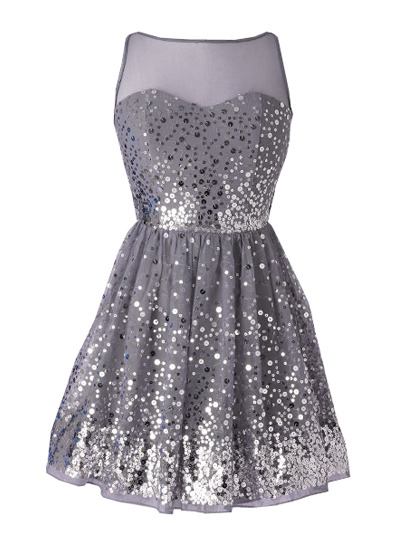 Be the belle of your school ball in this all-over sequined dress. Check out more fancy homecoming dresses here »