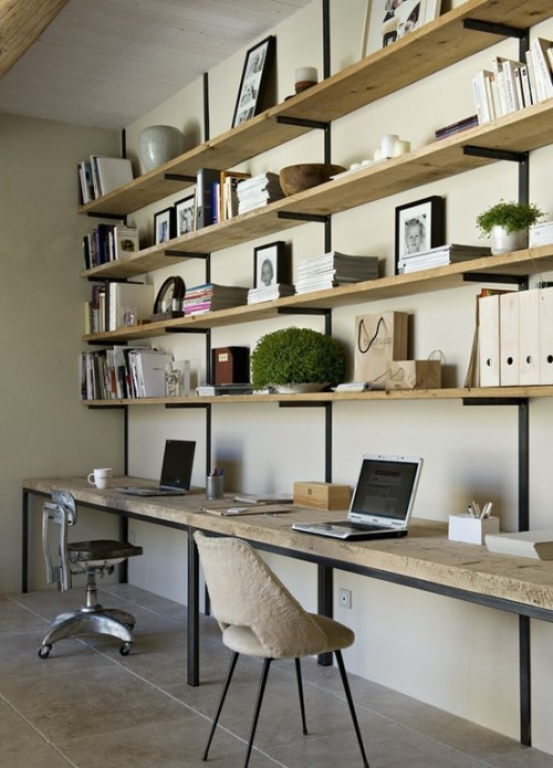 micasaessucasa:  (via Home Office Designs)   A mental note for my office… I'm using the same wood.