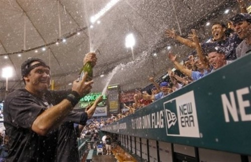 hittingforthecycle:  Your AL Wild Card winners, The Tampa Bay Rays! Amazing comeback!  Wouldn't mind if he sprayed me… #JusSayin #DoubleEntendresAreFun