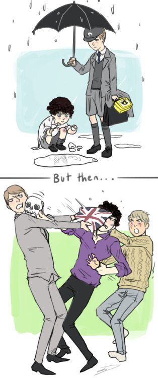 "reapersun:  ""SHOOT HIM. SHOOT HIM JOHN."" ""sherlock what the hell?!"" offensiveagentpie: Could you by  chance draw Mycroft and Sherlock as kids, with Sherlock experimenting  and watching ripples in a puddle by throwing in different sized rocks,  and Mycroft standing holding an umbrella over him asking what he's  doing?tardisat221bbakersstreet: if  you're still taking requests I would like to see Mycroft hitting  sherlock with the union flag pillow                                                 shanghaipalette: I was  wondering if you could draw Mycroft and Sherlock in an intense BROFIGHT!  :D"