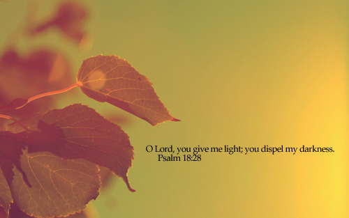 """O Lord, you give me light; you dispel my darkness."""