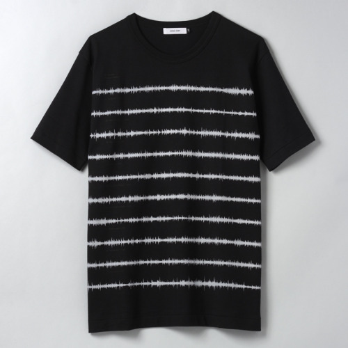 "This is second release of sound wave border shirt. The sound wave is generated from ""Unknown Pleasures"", masterpiece of post-punk. T-shirt is modified specAloye t-shirt. All the processes are made in Japan. http://www.denialshirt.com/"