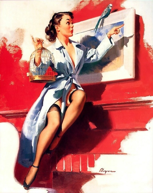 theniftyfifties:  'Pretty Cagey', pin up art by Gil Elvgren, 1953.