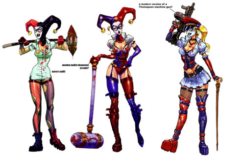 Harley incarnations by ~Chuckdee Some of Carlos D'Anda's preliminary designs for the Batman: Arkham Asylum game; his commentary is below. (NB: it's been edited for clarity and spelling.)  Harley took a few tries to get her to her finished version… as you can  see, the very first one was basically a Nurse's outfit, and it matched  the initial idea that the Joker would also be dressed like a 'Mad  Doctor' or something…. the idea to make her look more 'bondage' came  from Paul Dini, and with a character like Harley, that totally makes  sense if you ask me… this is a girl that loves a murdering psychopath  after all!