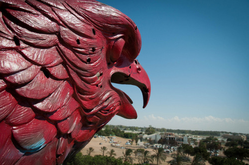 Bab al-Aziziyah on Flickr.This giant hawk statue looks out over Gaddafi's sprawling Tripoli compound. When revolutionaries took it over, they painted it in black, red and green.