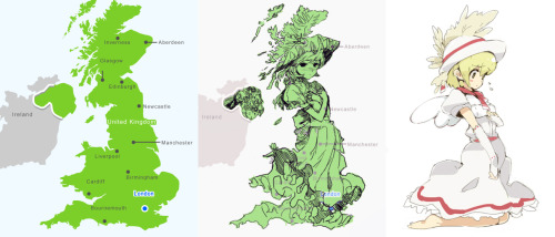 Hidden in Geography: Great Britain vs. Anime Girl's
