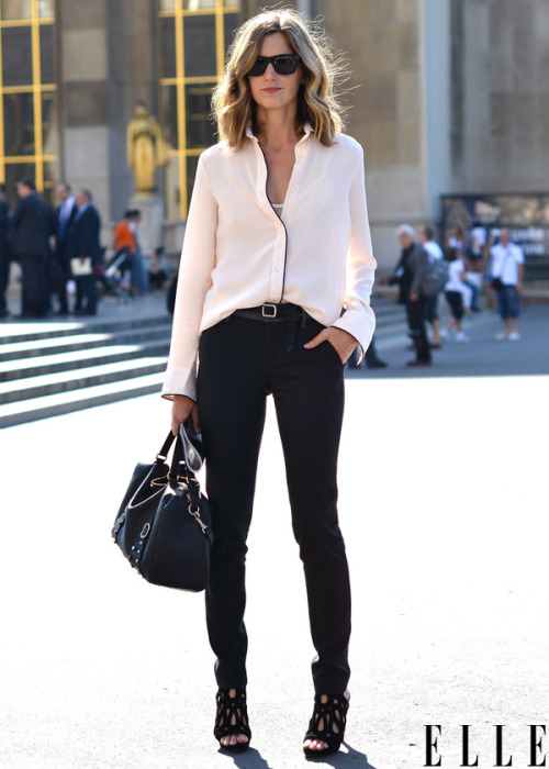 elle:  Street Chic: Paris Barneys' Amanda Brooks keeps it simple and chic in a silk piped blouse and straight jeans. Photo: Courtney D'Alesio