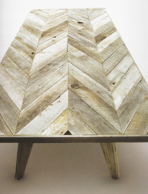 Paint dipped chairs with this herringbone table! (Imagine it at dining table height, of course) Via here.