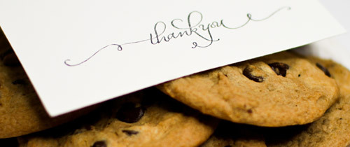 Cookies and a thank-you card