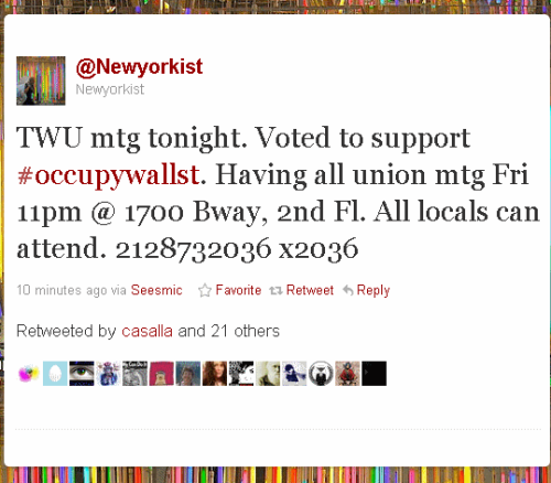 domestic-terrorism:  Transport Workers Union votes to support #OccupyWallstreet