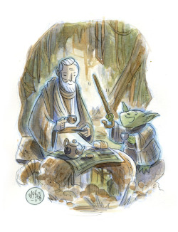 Tea Time on Dogobah (another watercolor commission).