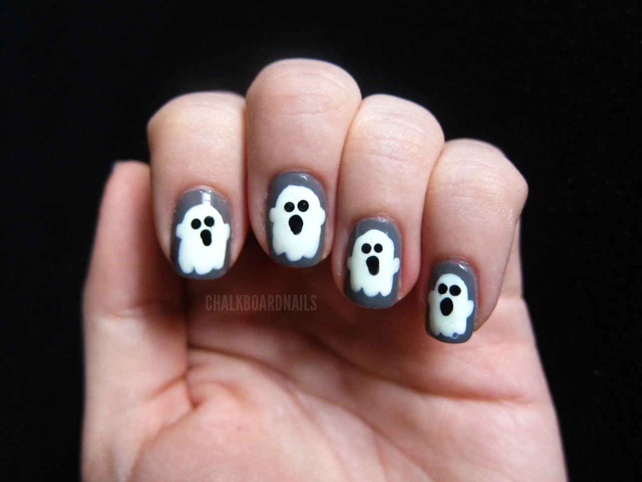 chalkboardnails:  Day 29: Inspired by the supernaturalInspired by ghosts China Glaze RecycleChina Glaze White On WhiteChina Glaze Ghoulish Glow TopcoatWet N Wild Ink Well  Happy Halloween!