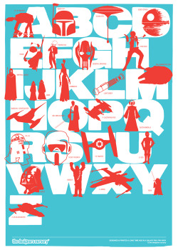 Star Wars Print (Rich Aqua-Coral Red)