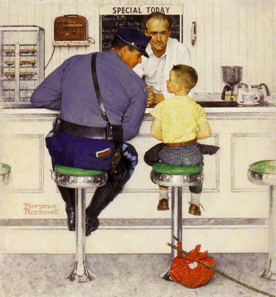 The RunawayNorman Rockwell1958The Norman Rockwell Museum of Stockbridge, Stockbridge, MA, USA American illustrator Normal Rockwell produced this piece for the cover of the September 20, 1958 issue of The Saturday Evening Post.  To create his iconic images, Rockwell used photographs of the people and places in the small towns of Arlington, VA and Stockbridge, MA. NPR's website has an interesting article, along with a gallery, on his artistic method and background on the models for his work.