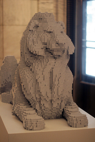 bookish:    Patience or Fortitude rendered in Lego at the New York Public Library. (by jcn, my favorite photographer)