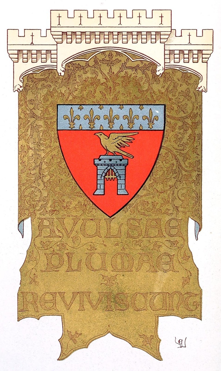 oldbookillustrations:  Coat of arms of the (imaginary) city of Clusy. Frontispiece from Histoire d'un hôtel de ville et d'une cathédrale (History of a city hall and of a cathedral), written and illustrated by E. Viollet-Le-Duc, Paris, 1878. (Source: archive.org)