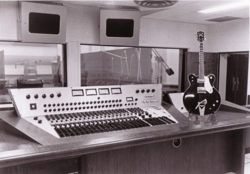 "Ben's Studio Control Room with the original RCA 16 Bus console with one of Chet's guitars when it was RCA Victor ""Nashville Sound"" Studio in the 60's."