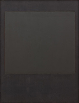 "fuckyeahmarkrothko:  ""Some critics have seen these [The Black on Black paintings] paintings as Rothko's pointed reminder that there was more to his work than lyric color—that his real subject was (as he had declared in 1943) the ""tragic and timeless."" Others have seen them as tokens of the illness and depression that began to plague Rothko in the 1960s, even as harbingers of his suicide at the end of the decade. But does black = tragedy and despair? While it does absorb more light than any other color, it is not just a void. Depending upon the quality of paint and its application, as well as shifting angles of light, the blacks here can look like steel or velvet, silver screens or black holes. Other colors lie in wait under a surface or peek around an edge. But to notice all this takes time: unless we look at the paintings slowly, we will not see what Rothko called their ""inner light."""" - From the National Gallery of Art Website"