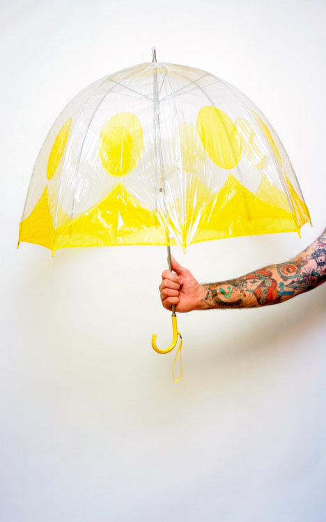 Clear Umbrella with Yellow Trim and Polka Dots by dingaling on Etsy