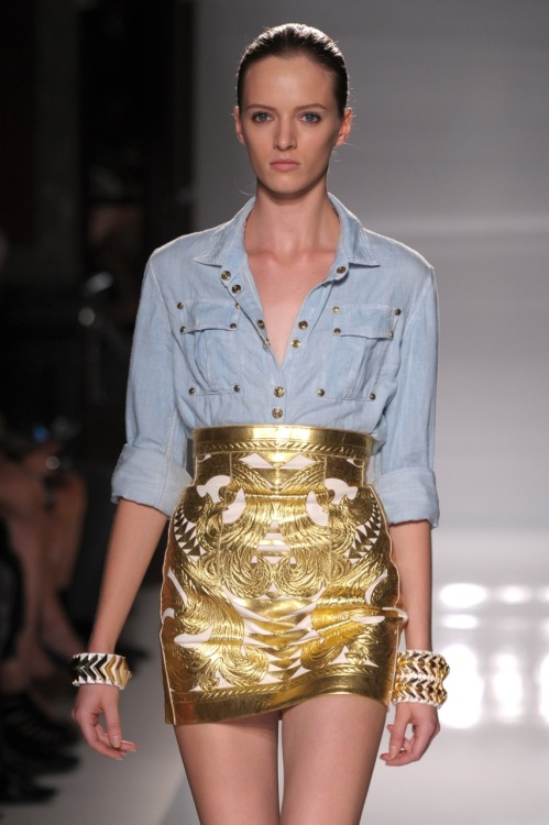 A new way to wear your fave denim shirt. Balmain, spring 2012. Photo: Fairchild Archive