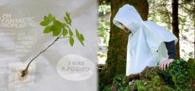 "Plantable raincoat made from potatoes and laden with seeds | Springwise gardensinunexpectedplaces:  Equilicuá's ""Spud"" raincoats, made in Spain from potato starch, are biodegradable under ""specific conditions"" (per its maker), so they can be worn several times. Later, the ponchos can be planted.   Not only is its potato starch-based ""Fantastic Bioplastic"" fully compostable, but — through a collaboration with La Fundación árboles — it's been impregnated with the seeds of various Mediterranean plants and shrubs. For that reason, in fact, Equilicuá currently distributes the raincoat only in [Europe] where the seeds are native…"