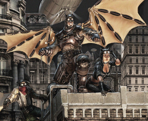 timetravelandrocketpoweredapes:  Steampunk Batman - by Raymond Tan Via: geeksngamers