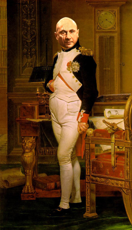 You Only Live Twice, Napoleon. Artist: Jacques-Louis DavidVillain: Ernst Stavro Blofeld Click Painting for Original.