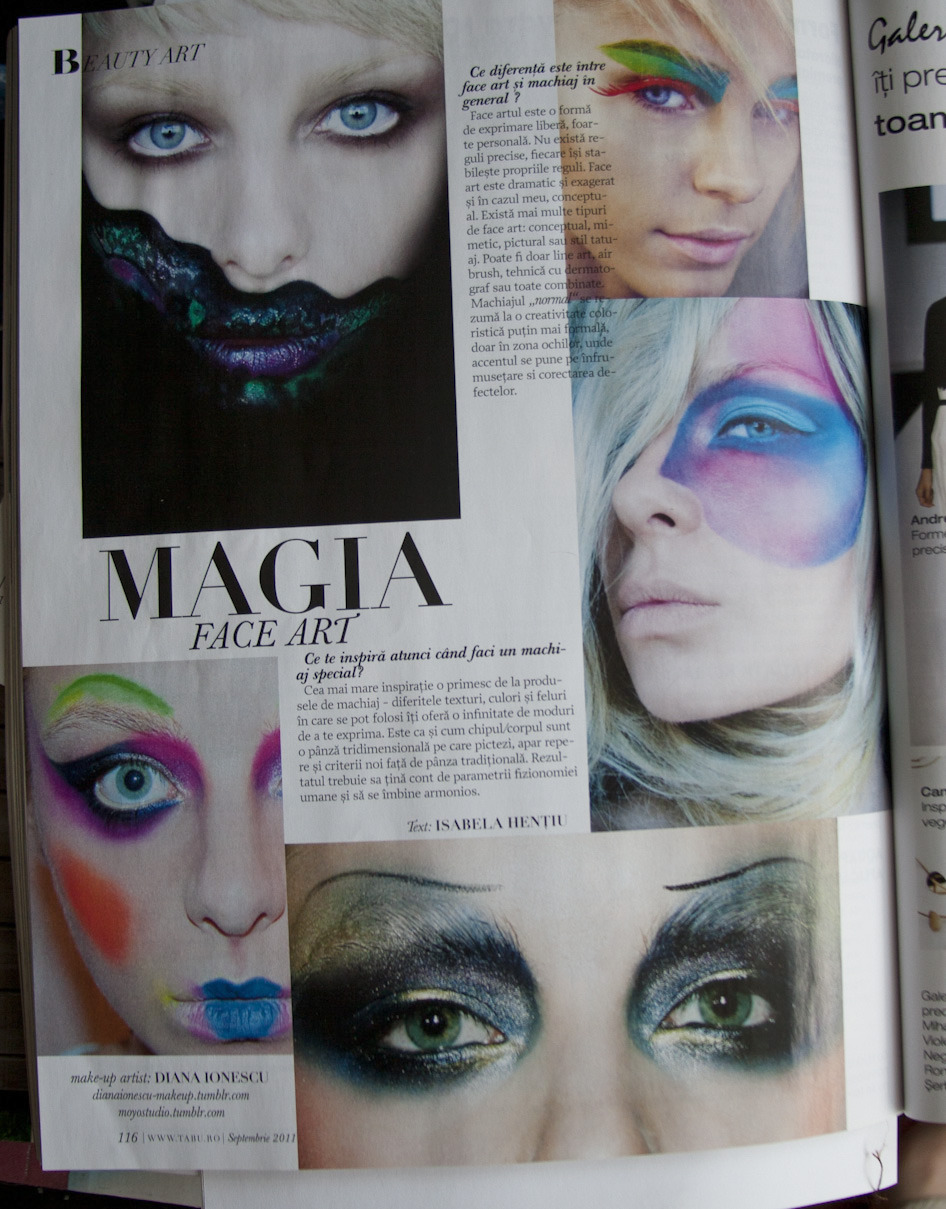 dianaionescu:  Featured in september issue of  TABU magazine Romania - Interview about FACE ART.