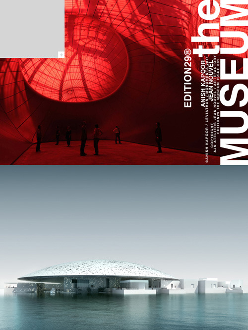 artpr:  EDITION29 THE MUSEUM FOR IPAD - ANISH KAPOOR, ZAHA HADID, JEAN NOUVELEDITION29 THE MUSEUM is an exciting new visual magazine for the Apple iPad platform. This highly collectible magazine is a visual diary of the art that surrounds and influences us, and the stories behind the people who create these marvels that fill museums and galleries. This magazine is like a new editorialized Catalog that is a must collect for any museum visitor, art enthusiast, and collector. Edited by Remi Carlioz, this first issue turns the spotlight on established artists such as Anish Kapoor, Sigalit Landau, Claude Lévêque and Michal Rovner, as well as younger figures like Mohamed Bourouissa. We also wanted to highlight some of the cream of recent and forthcoming architectural creations designed by some of the leading names in architecture, including, Jean Nouvel, Zaha Hadid, Ron Arad and the architects responsible for the Serpentine Gallery's 11 pavilions. With exclusive and never released tracks from Keren Ann and Joakim as the sound for the story on the LOUVRE ABU DHABI and as the soundtrack for the Issue.iTunes Link:  http://itunes.apple.com/us/app/edition29-the-museum/id429072639?mt=8