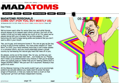 My latest Mad Atoms piece. Inspired by all my friends who finally DID come out. Click through to read it!