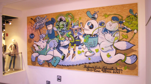 """peachbeach, frau isa, nychos,dxtr, lowbros and cone painted a wooden board for the blue tomato shop in vienna in may."" - rabbiteyemovement"