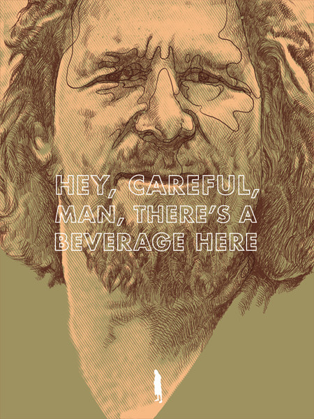 "spokeart:  ""The Dude"" by Oliver Barrett Part of Spoke Art's 'Quentin vs. Coen' art show, happening October 1st and 2nd in Los Angeles! More info here - http://www.facebook.com/spokeart  great movie. thanks to the dude, i know how amazing white russians are. :)"
