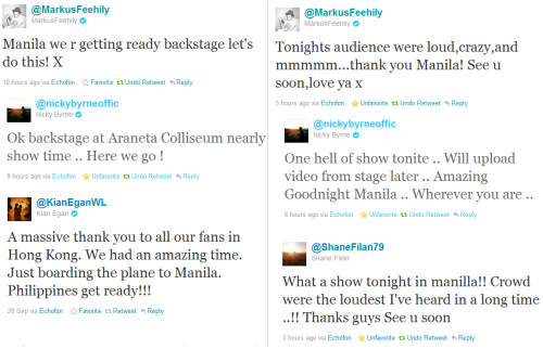 6 Favorite Tweets from Westlife about the Concert in Manila