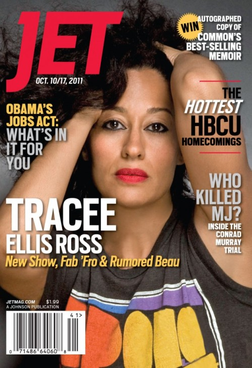 "@TraceeEllisRoss, star on the new B.E.T series, Read Between The Lines, covers the October 10/17, 2011 edition of JET Magazine.  While I think Tracee is a uniquely beautiful woman and JET could have done her better justice, at least the interview will keep peek your attention:   ""I felt like we really did it. And I was always so present and aware of what a gift it was."" Plus, girlfriend was tired. ""I don't think you realize when you're in the grind, how in the grind you really are. I felt like a basketball player retiring from the NBA.""  ""I still laugh out loud as if I've never seen it before. The other day I was watching an episode and I tweeted Jill [Marie Jones] and Persia [White] and said, 'We were amazing!' ~Tracee on the end of the groundbreaking, Girlfriends ( I'm still a #stan)  Sidebar: In regards to that tagline 'THE HOTTEST HBCU HOMECOMINGS' … of course it's Howard #HU ! @homotidbits"