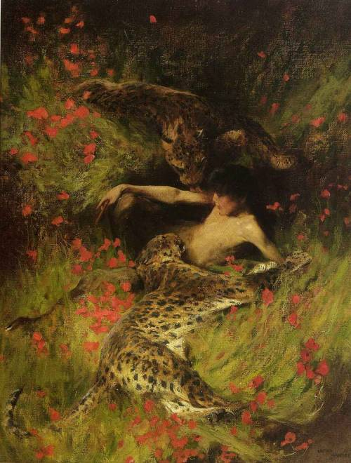 theboyishmuse:  Arthur Wardle - A Satyr Resting with Leopards