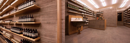 "anchordivision:  Aesop Opens New York City Store ""Supernews brings us looks at the new Aesop flagshop in Nolita. With an interior focused on the exploration of newspaper in construction (""reclaimed copies of The New York Times have been used as a building material""), the shop looks to pay homage to the city's history in print and writing. They look to also be screening some titles inside the shop. Find the new Aesop Shop at 232 Elizabeth St in New York City."""