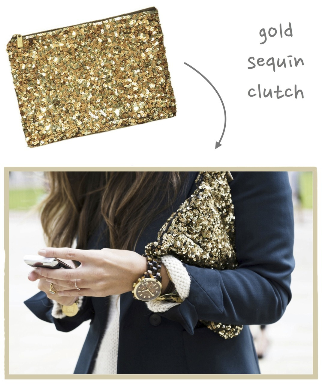 Rosa Loves… Sequins and clutches.  It's no secret that I am addicted to sequins and that I love clutches, so this little gold sequin clutch from Zara has become my latest obsession. I first spotted this amazing clutch in some photos from FW and then the lovely Kim of Brunette Blogging featured it in some of her recent outfits. It's so perfect, so sparkly, so me! WANT! {Photos via Zara}