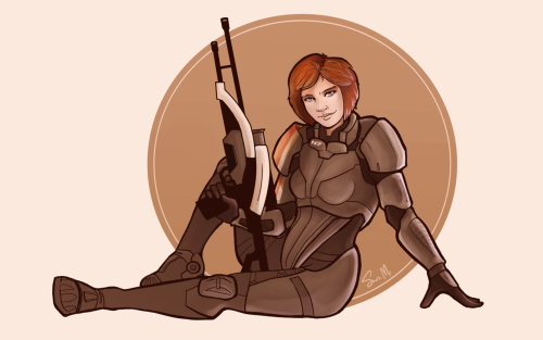 A little Femshep pin-up wallpaper I started ages ago. Finally found a color scheme I liked today.