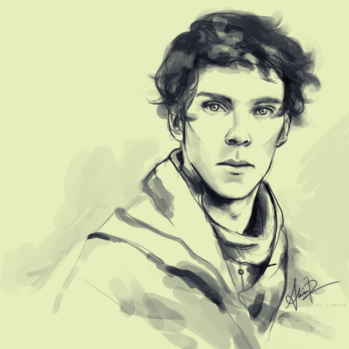 alicexz:  Sketch of a younger Sherlock, maybe he's at university or something. See, sometimes I don't use every color in the rainbow!