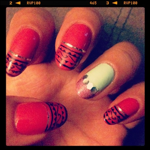 NOTD Preview, gettin my tribal on, not really diggin these but meh… (Taken with instagram)