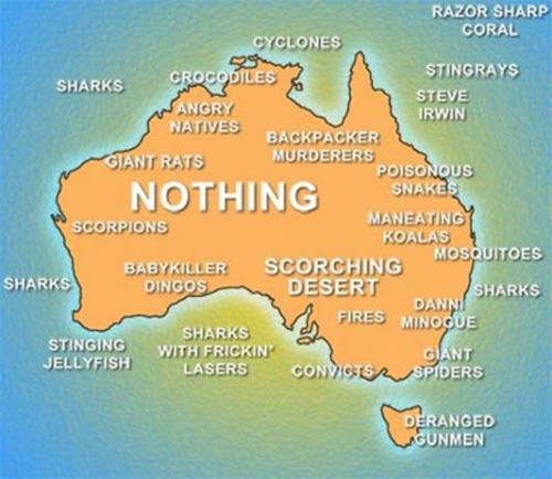 areyoucomingtogetme:  I think this accurately depicts Australia :p  Andy don't be scared, I'll protect from man eating koala's (wtf?) and giant spiders :p