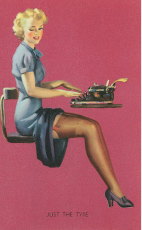"felixinclusis:  hollyhocksandtulips: ""Just the Type"" by Gil Elvgren"