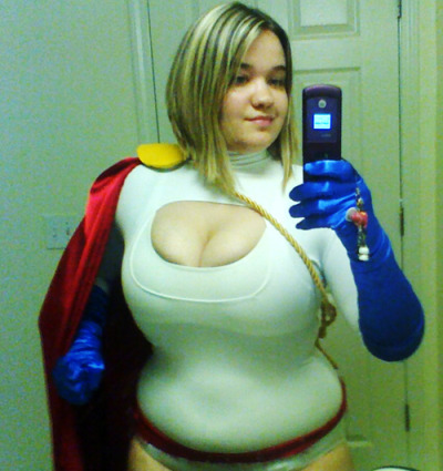 Power Girl Progress. I REEEALLY need opinions/advice/whateveryoucangive.I am having bra problems, obviously. I think the hole is just a little too big, or my boobs stretched it out more than I thought it would.I tried to pin it, but it bunches up and looks all awful.ANY advice?Or could I just leave it like this and be fine? ):